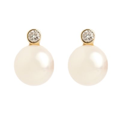 Heidi Kjeldsen Diamond & Akoya Pearl 9ct Yellow Gold Earstuds ER1716