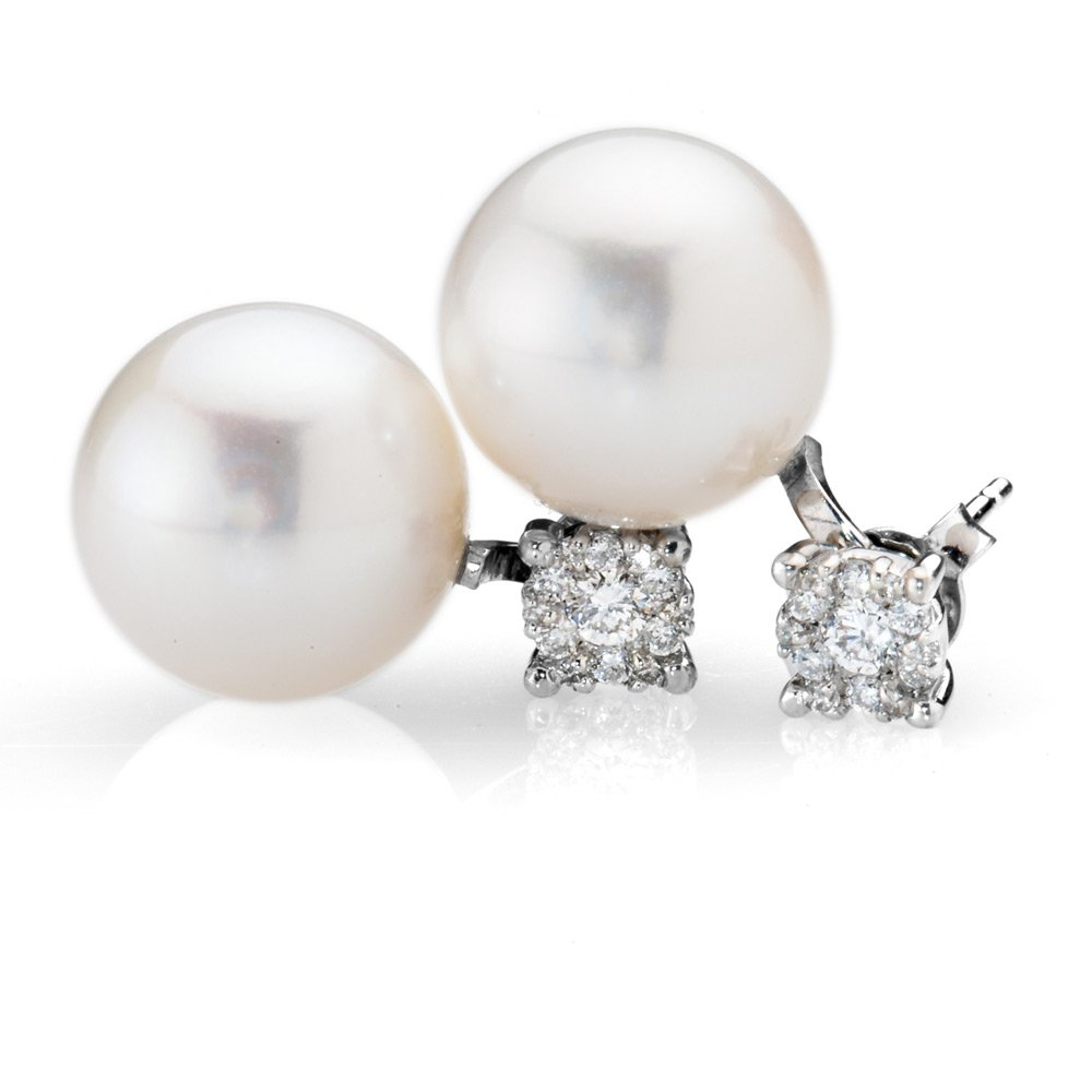 Stunning Detachable Diamond Stud and Pearl Drop Earring
