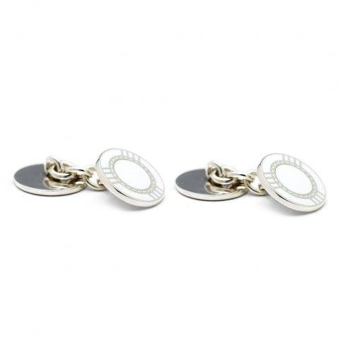 Heidi Kjeldsen Elegant Casino Chip Handmade Sterling Silver Enamelled Cufflinks CL0209