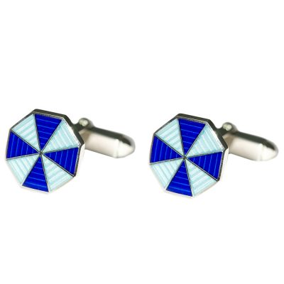 Heidi Kjeldsen Elegant Sterling Silver and Blue Handmade Octagonal Swivel Backed Cufflinks CL275
