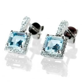 Heidi Kjeldsen Exquisite Aquamarine & Diamond Square Earrings in 18ct White Gold ER1770