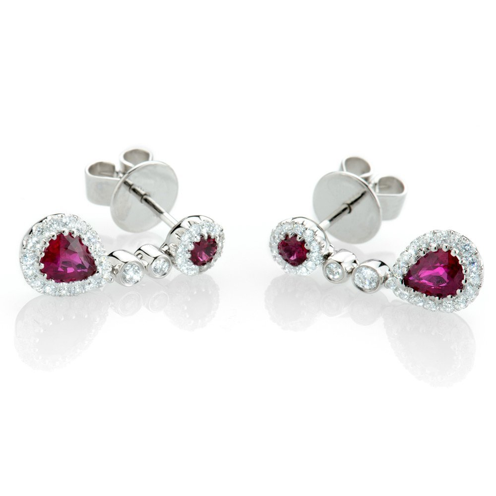 Exquisite Ruby & Diamond Drop Earrings
