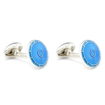 Heidi Kjeldsen Eye Catching Bright Blue Handmade Sterling Silver Cufflinks CLO219