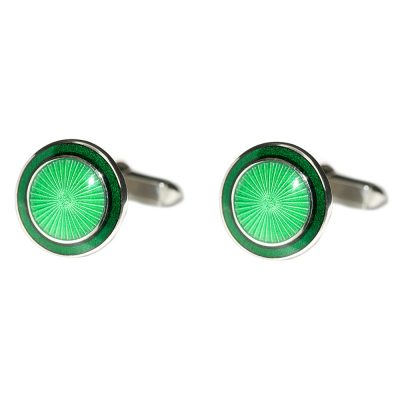 Heidi Kjeldsen Eye Catching Bright Green Handmade Sterling Silver Sunburst Cufflinks CL271
