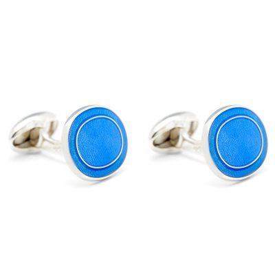 Heidi Kjeldsen Eye Catching Sterling Silver Cufflinks With Blue Enamel CL0207