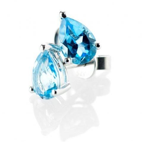 Heidi Kjeldsen Feminine Blue Topaz Pear Shaped Earstuds in 9ct White Gold ER1761-2
