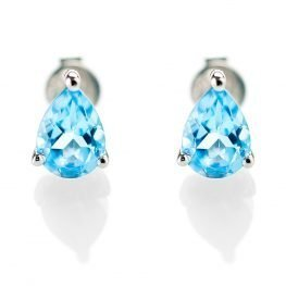 Heidi Kjeldsen Feminine Blue Topaz Pear Shaped Earstuds in 9ct White Gold ER1761