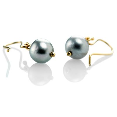 Heidi Kjeldsen Feminine Grey Cultured Pearl Drop Earrings & 9ct Yellow Gold ER1802