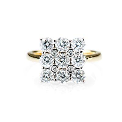 Heidi Kjeldsen Gleaming Diamond Square Cluster Ring R0272