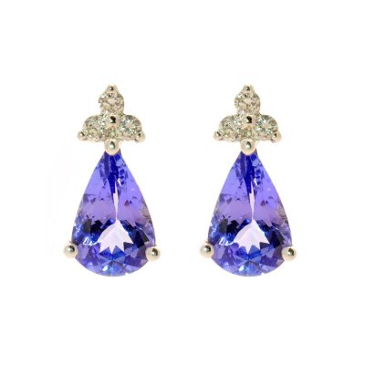 Heidi Kjeldsen Glorious Tanzanite Drops Earrings With Diamonds & 18ct White Gold ER1432
