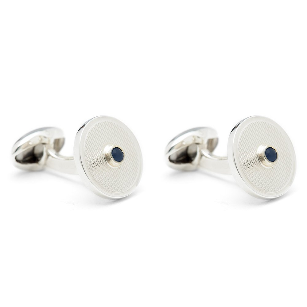 Heidi Kjeldsen Hand crafted Sapphire & Engine Turned Sterling Silver Cufflinks CL0210