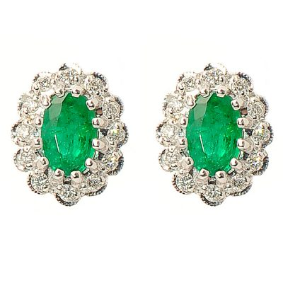 Heidi Kjeldsen Magnificent Emerald & Diamond 18ct gold Cluster Earrings ER1530