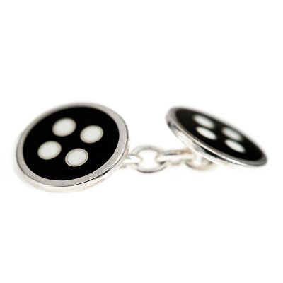 Heidi Kjeldsen Masculine and Modern Black and White Sterling Silver Dice Cufflinks Cl280