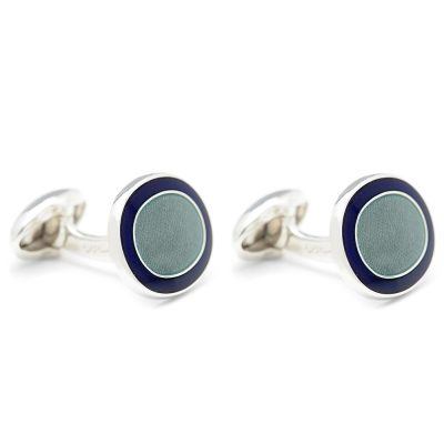 Heidi Kjeldsen Modern and Stylish Sage Green and Blue Handmade Sterling Silver Cufflinks CL0206