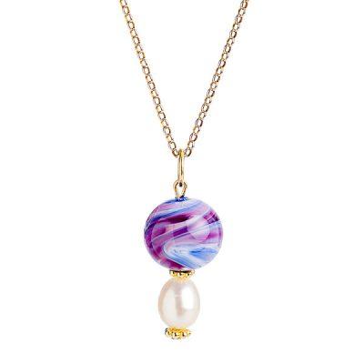Heidi Kjeldsen Pink & Blue Swirly Murano Glass & Pearl Pendant P963