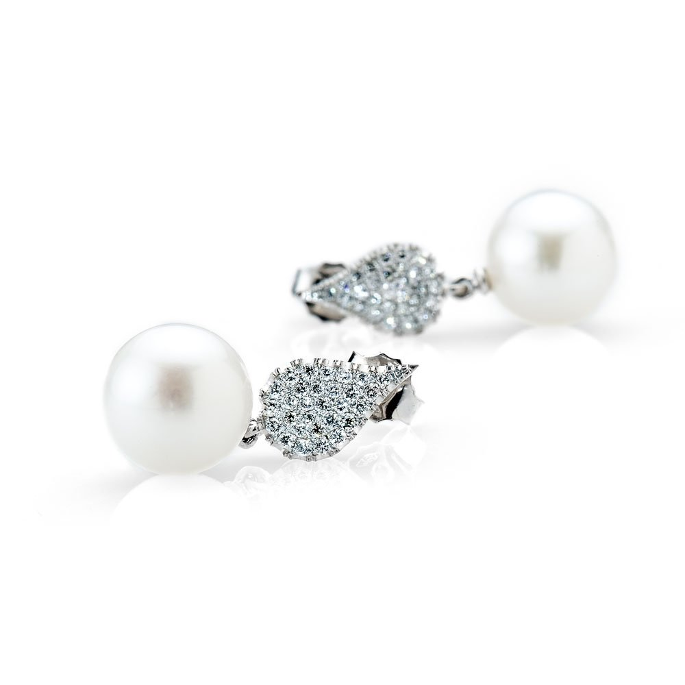Precious Diamond and Exquisite South Sea Pearl Drop Earrings