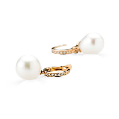 Heidi Kjeldsen Pretty Rose Gold Diamond and Drop Pearl Earrings ALT2 ER1960