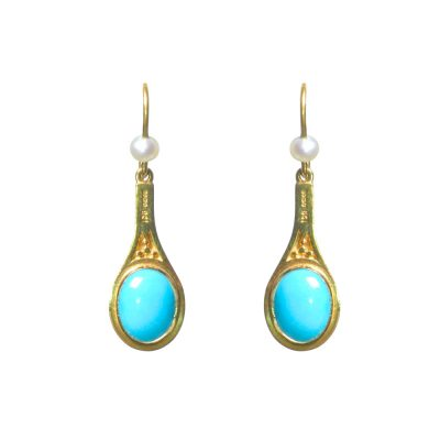 Heidi Kjeldsen Rich Turquoise, Cultured Pearl & Gold Earrings ER1269
