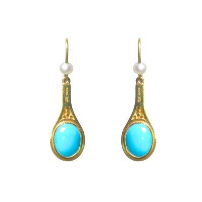 Heidi Kjeldsen Rich Turquoise, Cultured Pearl & Gold Earrings ER1269