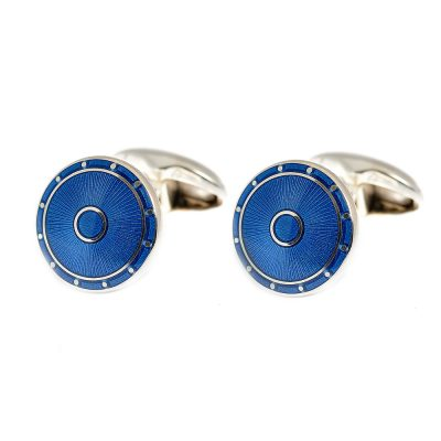 Heidi Kjeldsen Smart Petrol Blue Handmade Sterling Silver Enamelled Cufflinks CL0191