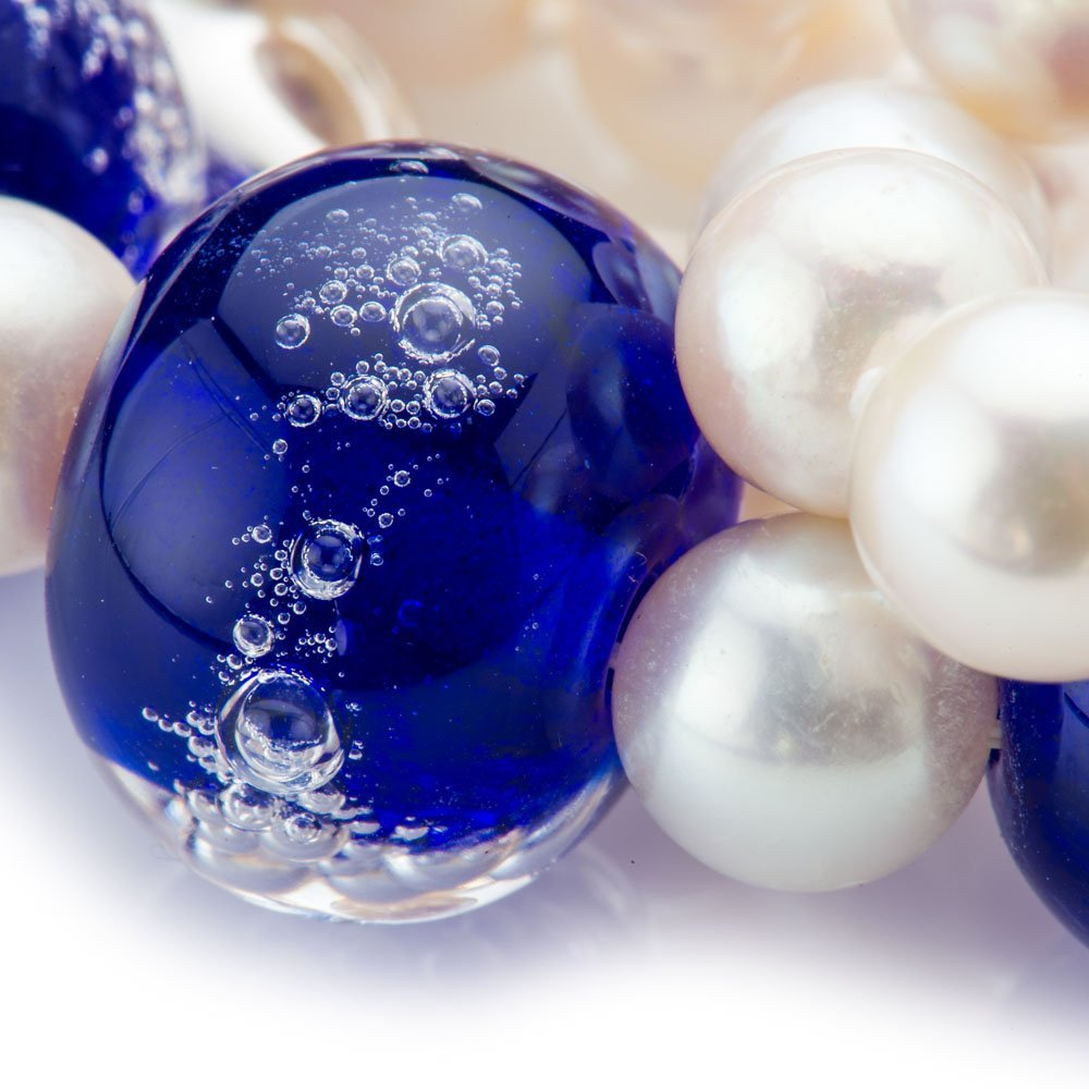 Heidi Kjeldsen Sparkling Blue Murano Glass and Pearl Necklace NL1015