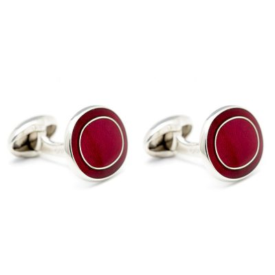 Heidi Kjeldsen Striking Cherry Red Handmade Sterling Silver Cufflinks CL0205