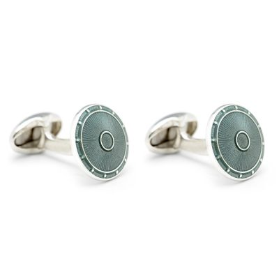 Heidi Kjeldsen Stunning Handmade Sterling Silver Sage Green Round Enamel Cufflinks CL0218