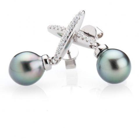 Heidi Kjeldsen Stunning Tahitian Pearl & Diamond 18ct Gold Earrings ER1913-2