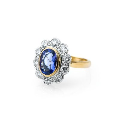 Heidi Kjeldsen Stunning Tanzanite and Diamond Cluster ALT1 Ring R1121