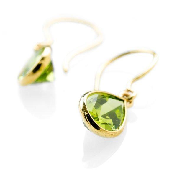 9ct Gold Peridot drop earrings y43JOl