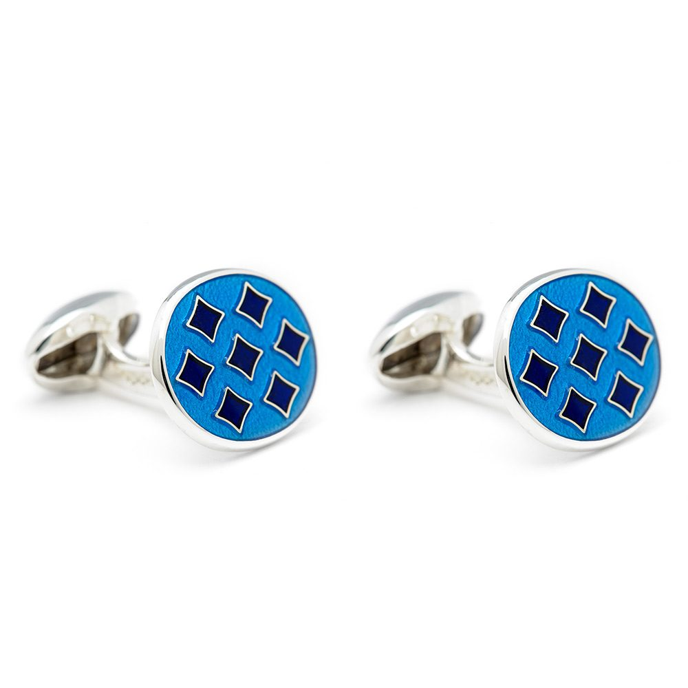 Heidi Kjeldsen Superb Blue Handmade Sterling Silver Enamelled Harlequin Cufflinks CL0213