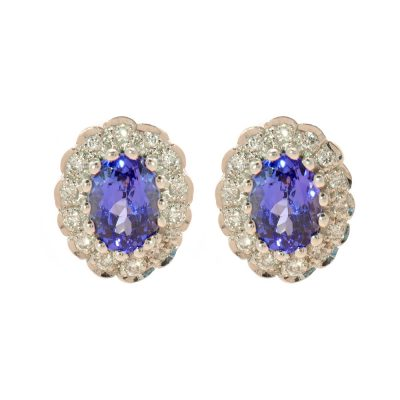 Heidi Kjeldsen Tanzanite & Diamond 18ct White Gold Oval Cluster Earrings A0167