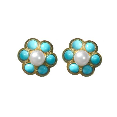 Heidi Kjeldsen Turquoise, Cultured Pearl & Gold Cluster Earrings ER1513