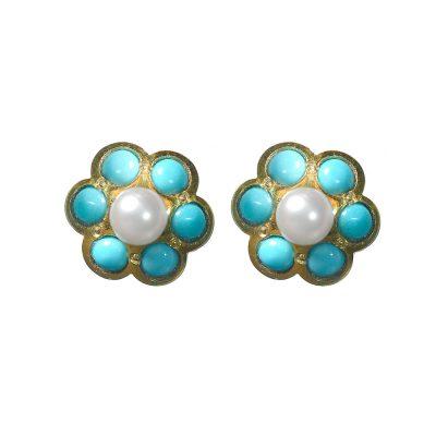 Heidi Kjeldsen Turquoise, Cultured Pearl & Gold Cluster Earrings ER1513