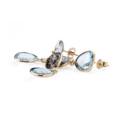 Heidi Kjeldsen Unusual Rutilated Quartz and Blue Topaz Earrings ALT1 ER1910