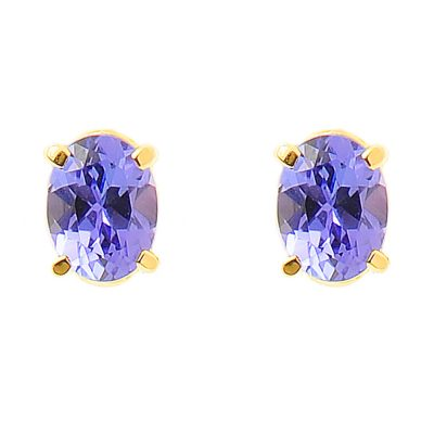 Heidi Kjeldsen Vibrant Tanzanite & 18ct Yellow Gold Ear Studs ER1569