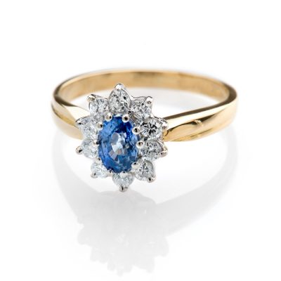 Heidi Kjeldsen Adorable Cornflower Blue Ceylon Sapphire and Diamond Cluster Ring R1111