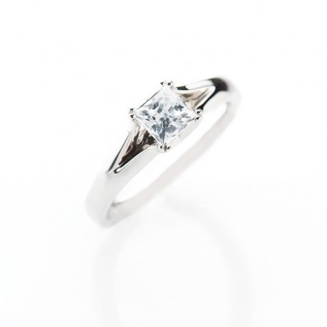 Heidi Kjeldsen Contemporary Princess Cut Diamond Solitaire Ring ALT1 R1099