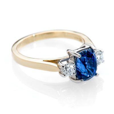Heidi Kjeldsen Magnificent Cornflower Blue Cushion Shaped Ceylon Sapphire and Diamond Ring R1112