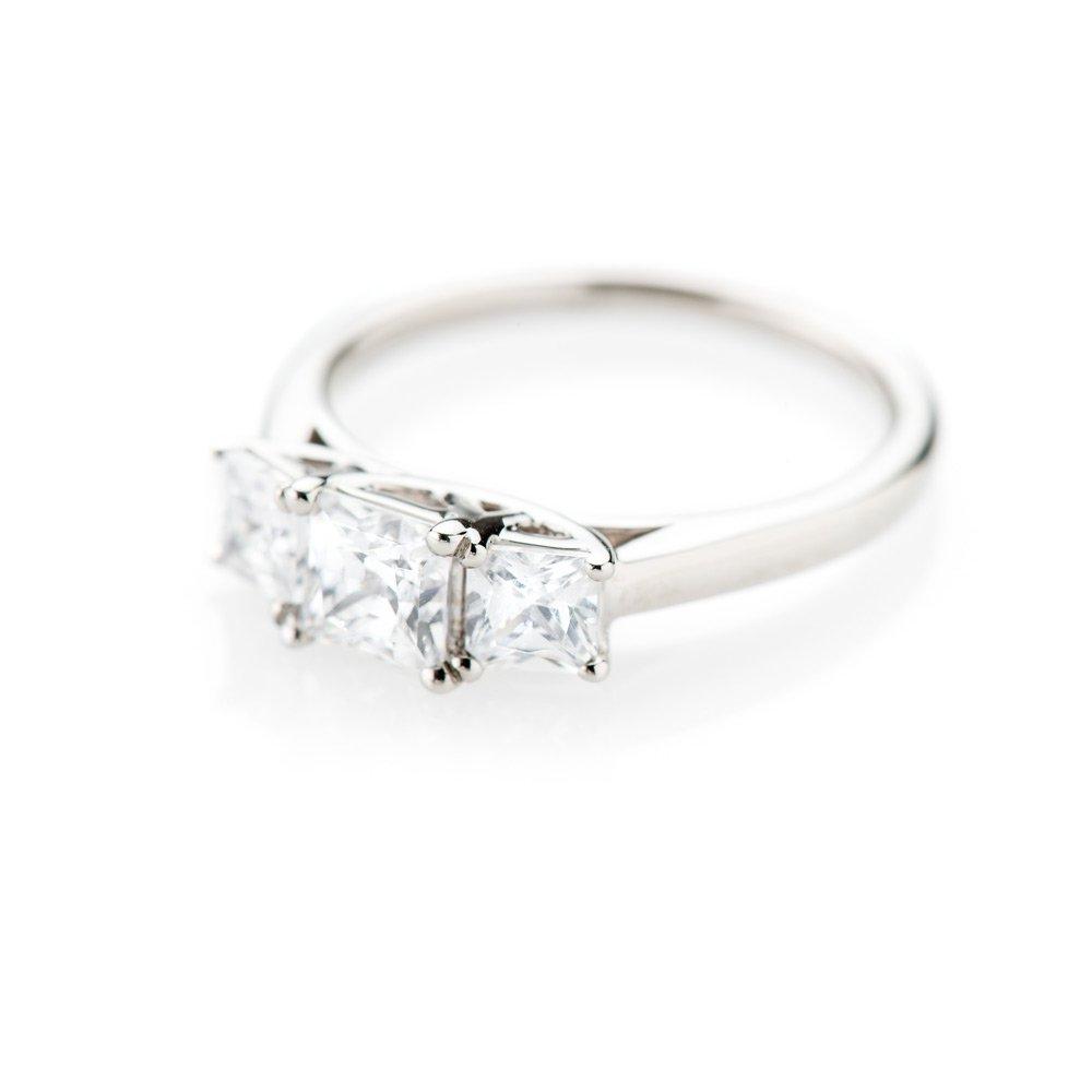 Heidi Kjeldsen Magnificent Princess Cut Diamond Three Stone Ring R1104