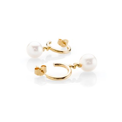 Heidi Kjeldsen Stunning Pearl and Swirl Gold Drop Earrings ER1943