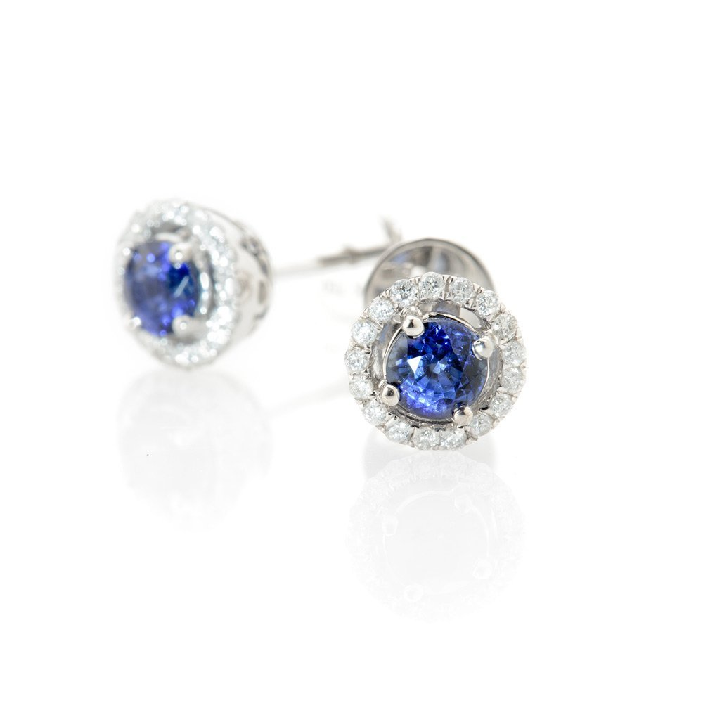 Heidi Kjeldsen Tantalising Royal Blue Ceylon Sapphire and Diamond Earrings ER1849