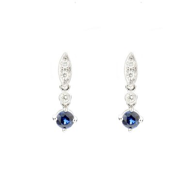 Heidi Kjeldsen Twinkling Royal Blue Ceylon Sapphire and Diamond Drop Earrings ALT1 ER1850