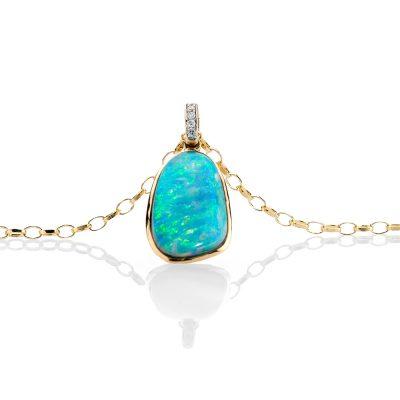 heidi kjeldsen exceptional blue opal and diamond pendant