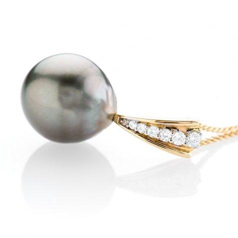 Heidi Kjeldsen Glorious Tahitian Pearl and Diamond 18ct Yellow Gold Pendant P1024 Side