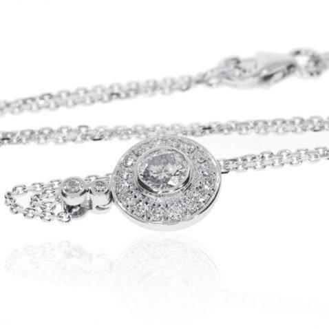 Heidi Kjeldsen glamorous diamond and 18ct white gold circles pendant P1003 Flat