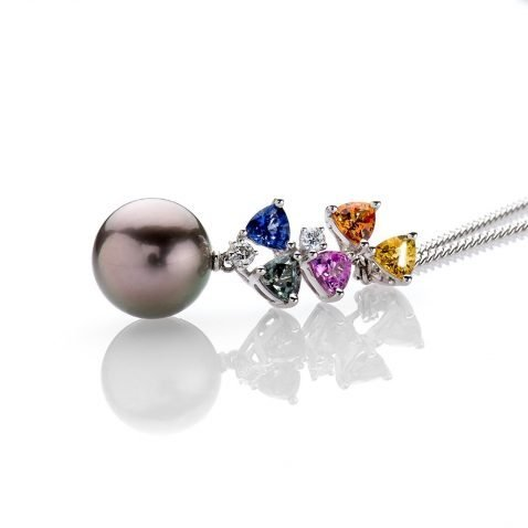 Multi-Coloured Sapphires, Diamond and Tahitian Pearl Pendant By Heidi Kjeldsen Jewellery P1026 Flat