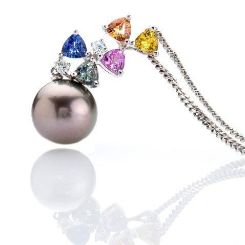 Multi-Coloured Sapphires, Diamond and Tahitian Pearl Pendant By Heidi Kjeldsen Jewellery P1026 Standing