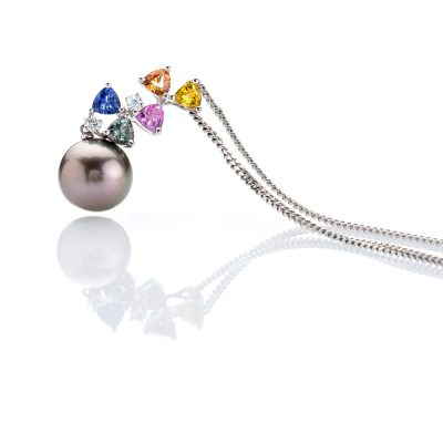 heidi kjeldsen irresistible rainbow colours of sapphires diamonds and a glorious tahitian pearl pendant