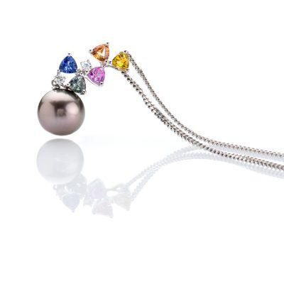 heidi kjeldsen irresistible rainbow colours of sapphires diamonds and a glorious tahitian pearl pendant